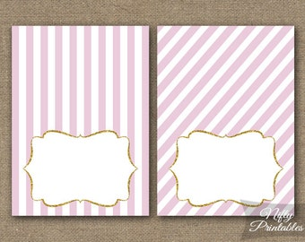 Pink Food Tents - Pink Gold Place Cards - Pink Gold Party Decorations - Pink White Stripe Buffet Card - Printable Bridal Baby Tent Cards PGL