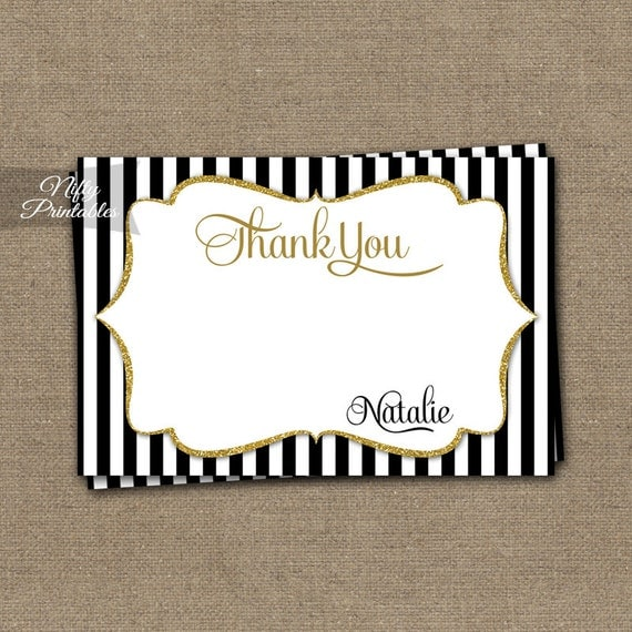 black  u0026 gold glitter thank you cards personalized printable