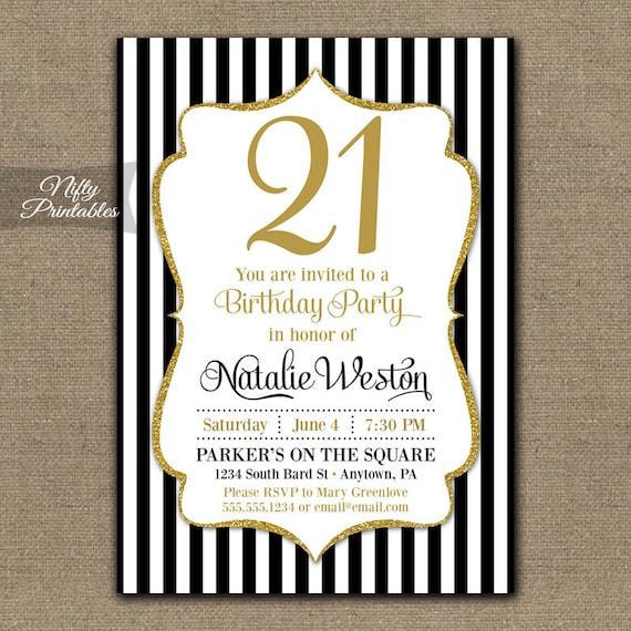 21st Birthday Invitations Black & Gold Glitter Twenty