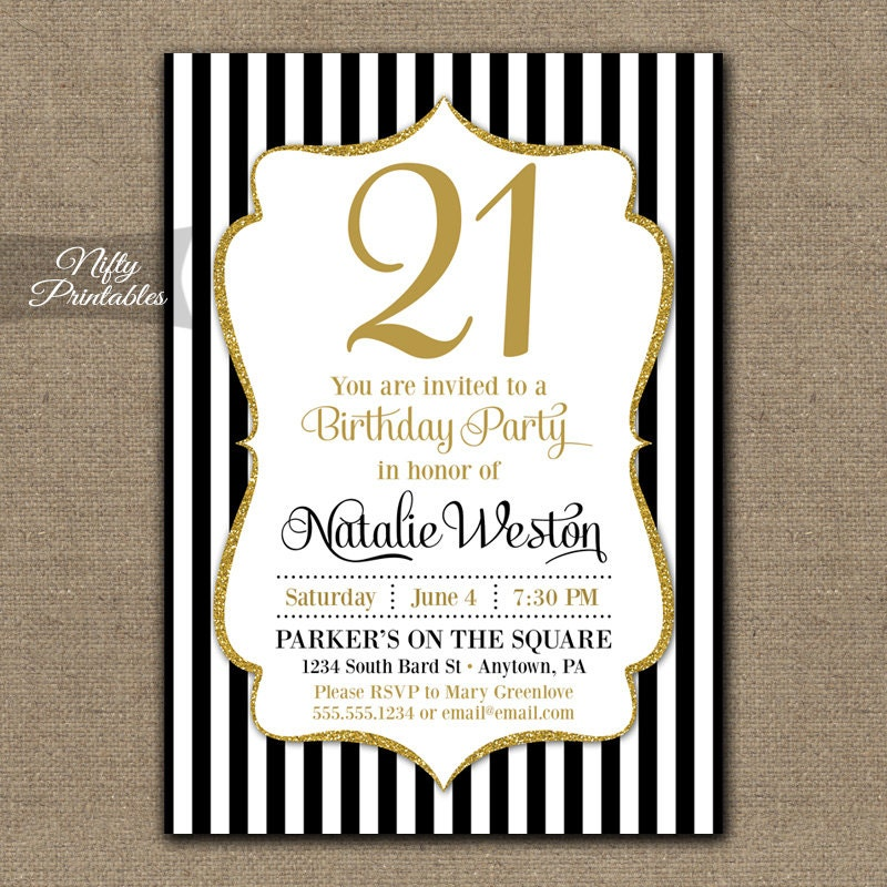 21st Birthday Invitations Black Gold Glitter Twenty – Invitations 21st Birthday Party