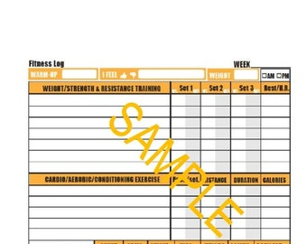 Daily Fitness Log (5.5x8.5) Print on Letter