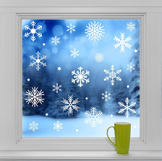 Christmas Decals Reusable Snowflakes Decals Clings For
