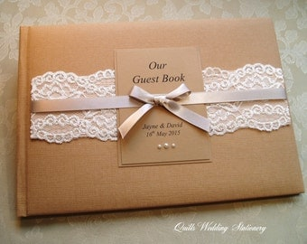Wedding Guest Book. Rustic Style. Country Lace. Various Colour Options for Satin Ribbon.