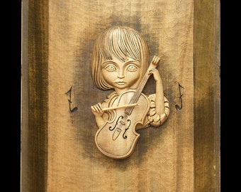 "Wood painting ""soul music"""