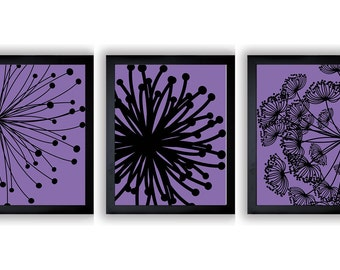 INSTANT DOWNLOAD Purple Black Set of 3 Dandelion Art Printable Abstract Art Flower Print Wall Decor Modern Minimalist Bathroom Bedroom