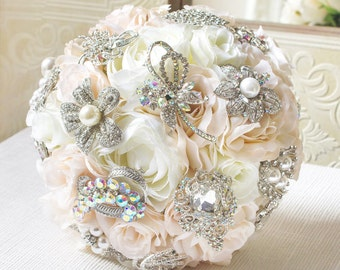 Blush Brooch Bouquet, Silk Flower Brooch Bouquet, Wedding Bouquet, Bridal Bouquet, Bridesmaid Bouquet, Ivory Bouquet, Blush Bouquet, BQ5
