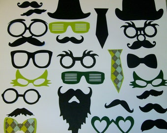 Photo Booth Prop Set Mustaches,Beards,Lips,Glasses 25 Pieces (2074DC)