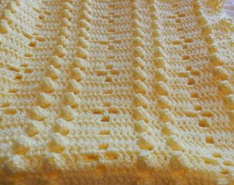Crochet Baby Blanket Yellow Popcorn Stitch