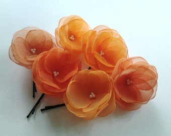 6 Orange Hair Pins Orange Hair Flowers Orange Wedding Accessories Orange Bridal Hair Clip Orange Bridal Clips 6 Tones Orange Wedding Flowers