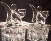 Pair of Bohemia Glass Angel Candlestick Holders