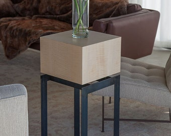 Square/cube top side table/display pedestal | Stunning light figured maple with steel legs