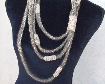 crochet necklace pigtails Golden wool cotton