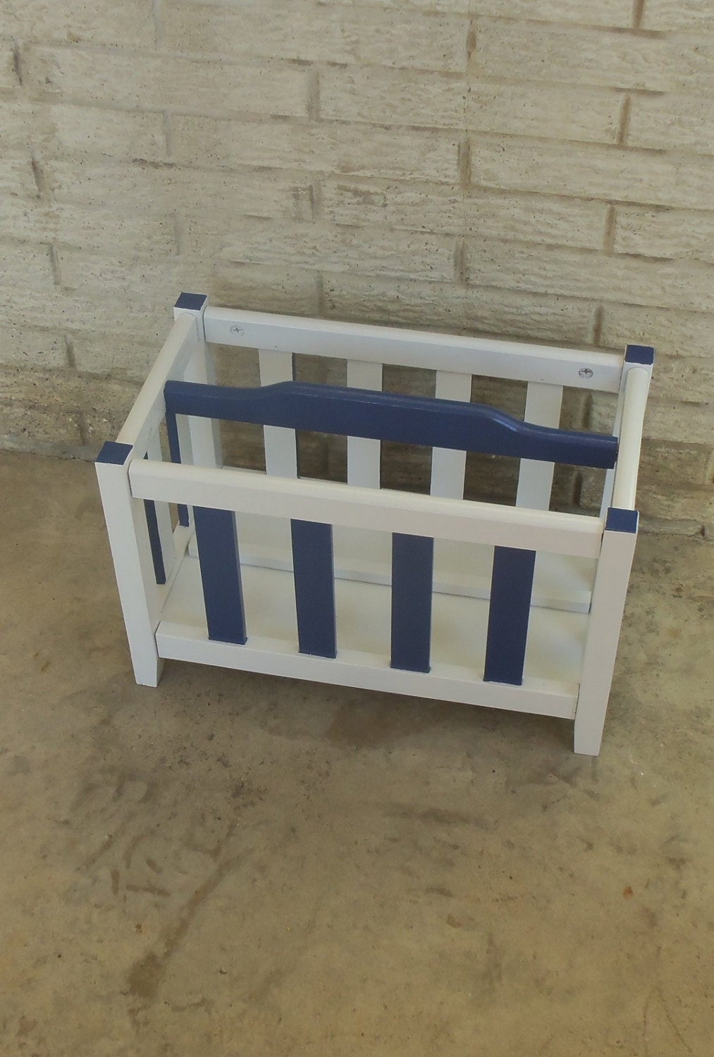 nautical magazine rack book bin toy storage navy blue white