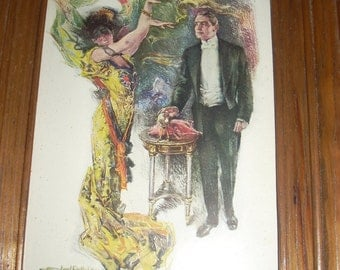 Howard chandler christy Vintage 1918 print in color of gentleman and Masquerade woman