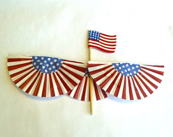 American Flag and Bunting dollhouse miniature 1/12 scale