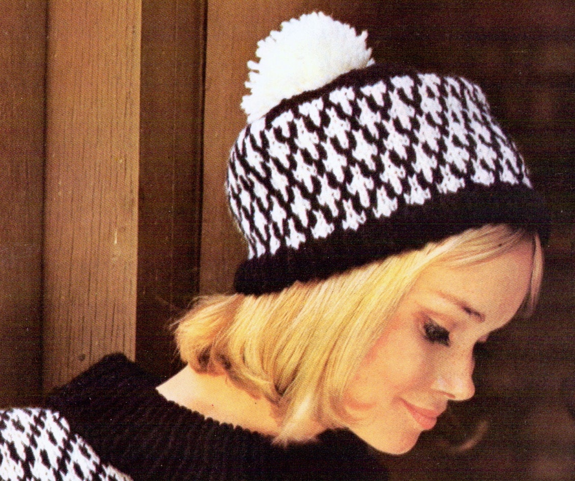 Pom Pom Beanie Knitting Pattern : Diamond Sweater and Cap- 2 Vintage Knitting Patterns, patterned pom pom beani...