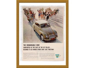 "1960 DKW German Car Color Print AD / Crafted in West Germany / 9"" x 12"" / Original Advertisement / Buy 2 ads Get 1 FREE"