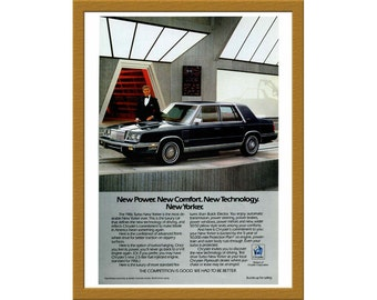 "1986 Chrysler Turbo New Yorker Car Color Print AD / Ricardo Montalban / 6"" x 9"" / Original Print Ad / Buy 2 ads Get 1 FREE"
