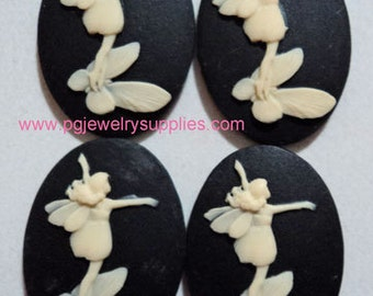 25x18 Oval resin cameo Fairy on a butterfly ivory on black 4 pieces