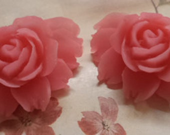 43mm x 32mm large roses resin rose flowers in matte pink 2 pc lot l