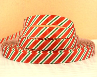 "2 yards grosgrain ribbon 3/8"" Christmas Candy Cane Stripe"