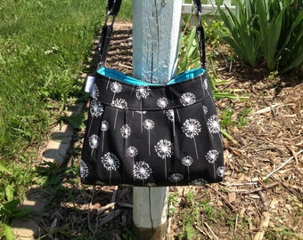 """The """"Lily"""" Black dandelion purse with teal"""