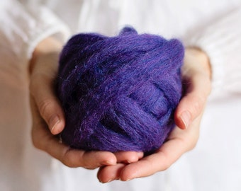 Wool Roving for needle felting, wet felting, spinning or knitting - 1 oz. Pansy, a dark bluish purple - Mauch Chunky Roving