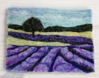 Lavender Fields Needle Felting Kit Wool Painting Landscape DIY learn a new craft