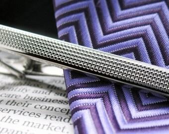 Tread Tie Bar Classic Shiny Silver Toned Clip Men Tie Clip