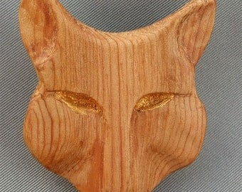 Fierce Mouse Brooch, Hand Carved  in Cedar Wood