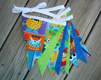 Scary Monster Pennant Banner - 9 Large Flags