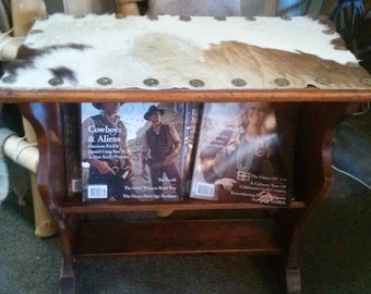 Solid wood magazine rack/end table.