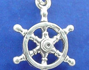SHIP WHEEL Charm, Captains Helm, Sailor .925 Sterling Silver Charm
