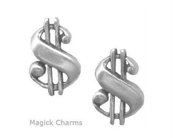 DOLLAR SIGN EARRINGS, Post Stud .925 Sterling Silver