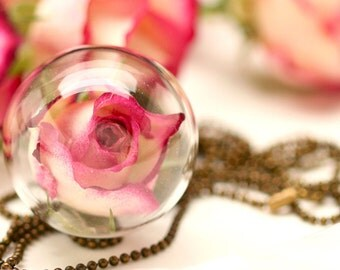 Real rose glass ball chain - k209