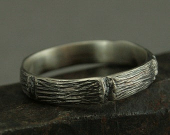 Protector of the Realm - Handmade Woodland Men's Ring - Sterling Silver Wedding Ring - Branch Band - Unique Gift Idea for Nature Lovers