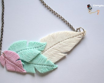 Feather Necklace pastel colors.