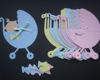 12 Large pastel Baby Buggy pram pushchair die cuts for cards toppers cardmaking scrapbooking craft project