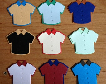 10 Plain mens boys Shirts Die cuts for card toppers for male card - assembled ready to use