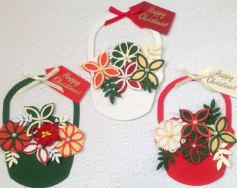 3 Luxury handmade Floral filled christmas Basket Card Toppers for card blanks - ready to use!