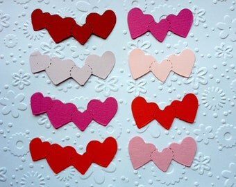 40 Heart piece Borders for Valentine cards/toppers cardmaking scrapbooking craft project *pinks & reds*