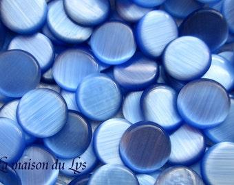 Round cabochons 12 mm x 10pcs glass Blue Cat's eye