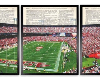 San Francisco 49ers Stadium 3 Piece Set Upcycled Dictionary Print Repurposed Book Print Recycled Dictionary Page