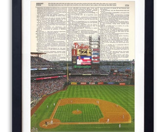 Philadelphia Phillies Stadium Upcycled Dictionary Art Print Repurposed Book Print Recycled Dictionary Page - Buy 2 Get 1 FREE