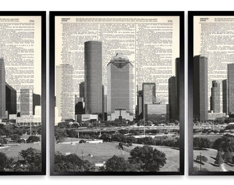 Houston Skyline 3 Piece Upcycled Dictionary Art Print Repurposed Book Print On Recycled Antique Dictionary Page