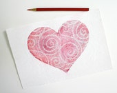 Pink Lace Heart Collage- Original Mixed Media- Paper Art- Valentines, Romantic,Love,Friendship- 6x9