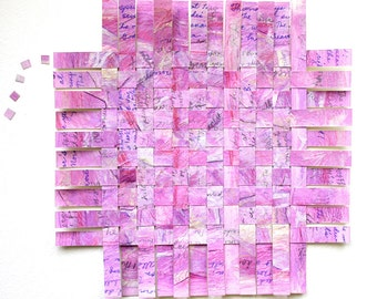 Pink Poetry Paper Weaving- Paper Art- 9x9- All's Right With the World- Handwritten- Robert Browning- Pippa Passes