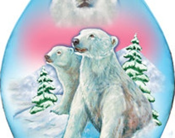 Polar Bear Ornament; Hand-painted Old World Christmas Scene;  Vintage Holiday Ornament Free Personalized  (74178)