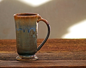Hand thrown stoneware pottery mug Standard Style Volcano Blue