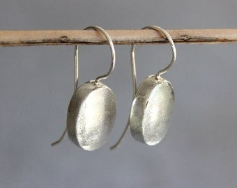 Silver hook earrings, silver drop earrings, silver oval earrings, sterling silver dangle earrings.